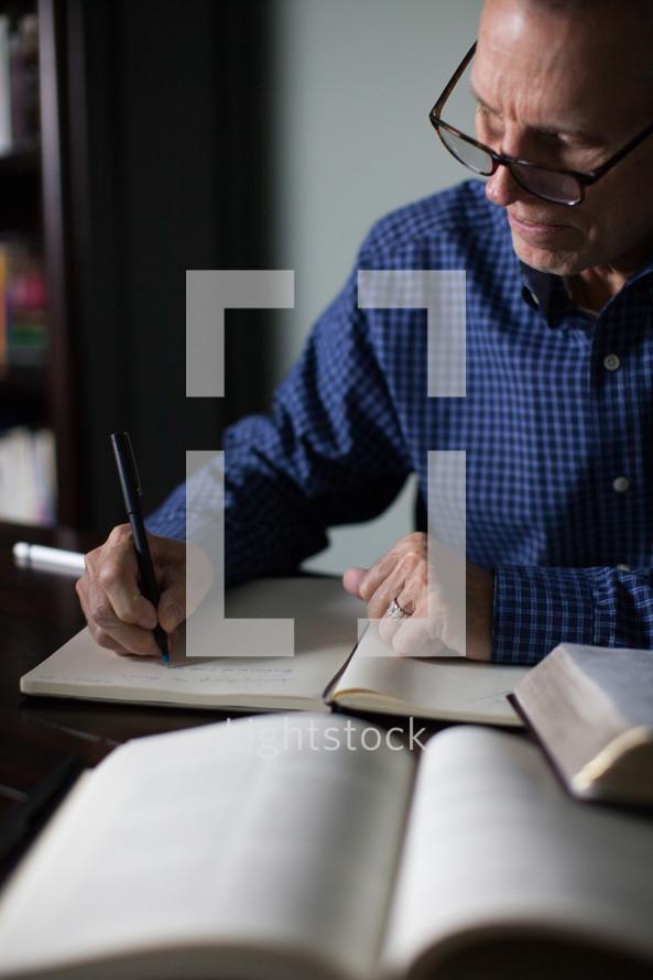A pastor preparing his sermon