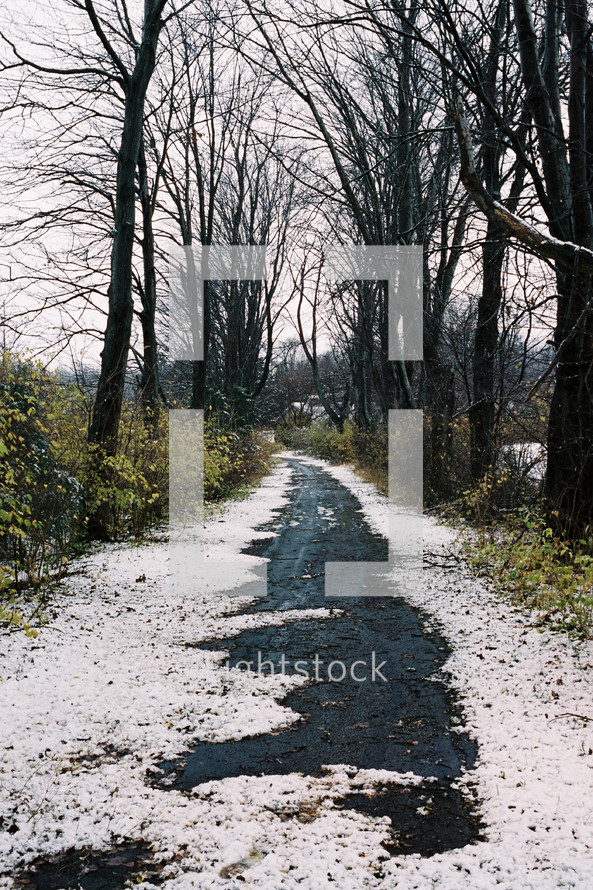 snow on a path