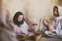 Jesus eating with his disciples