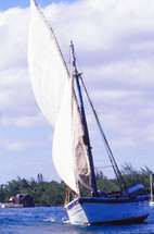sails on a fishing boat