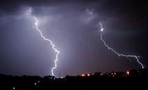 lightning strike in the night sky