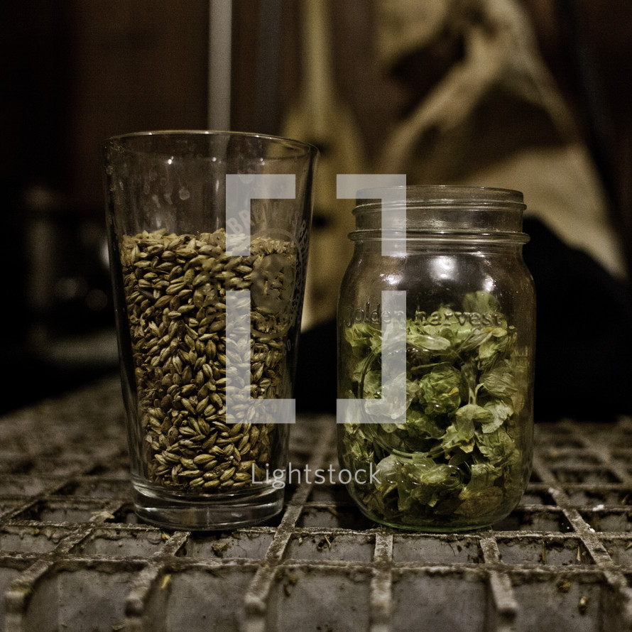 grains and herbs in glass jars