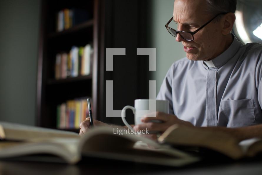A minister preparing a sermon