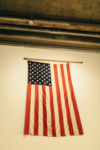 American flag hanging on a wall