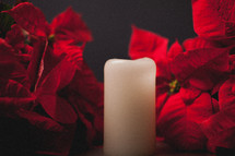 red poinsettia and candle