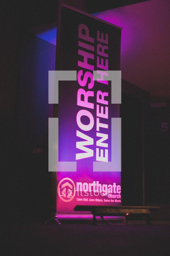 worship enter here sign