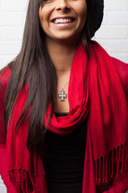 cross necklace, red scarf, woman, African-AMerican