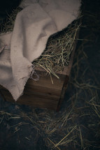 Overhead view of the manger filled with hay
