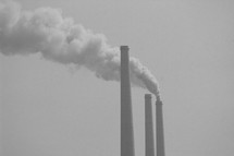 Industrial pollution smoke stacks