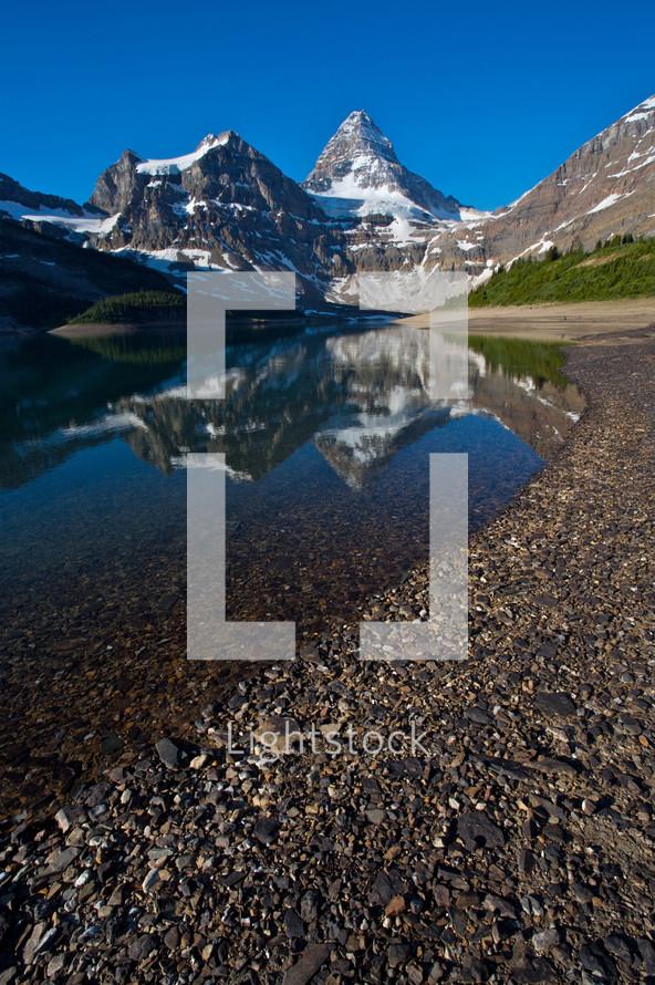 rocky shore of a mountain lake