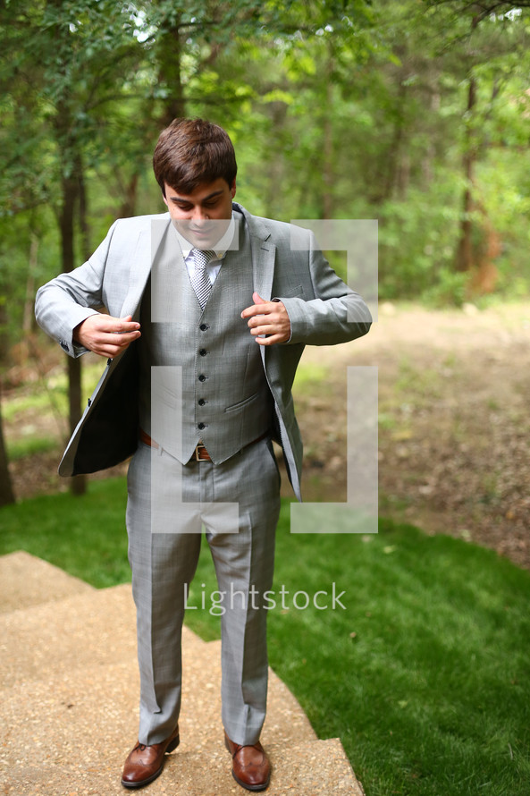 Man in suit outdoors