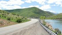 road and lake view