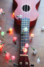 ukulele and lights