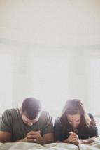 husband and wife in prayer