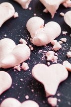 heart shaped pink cookies