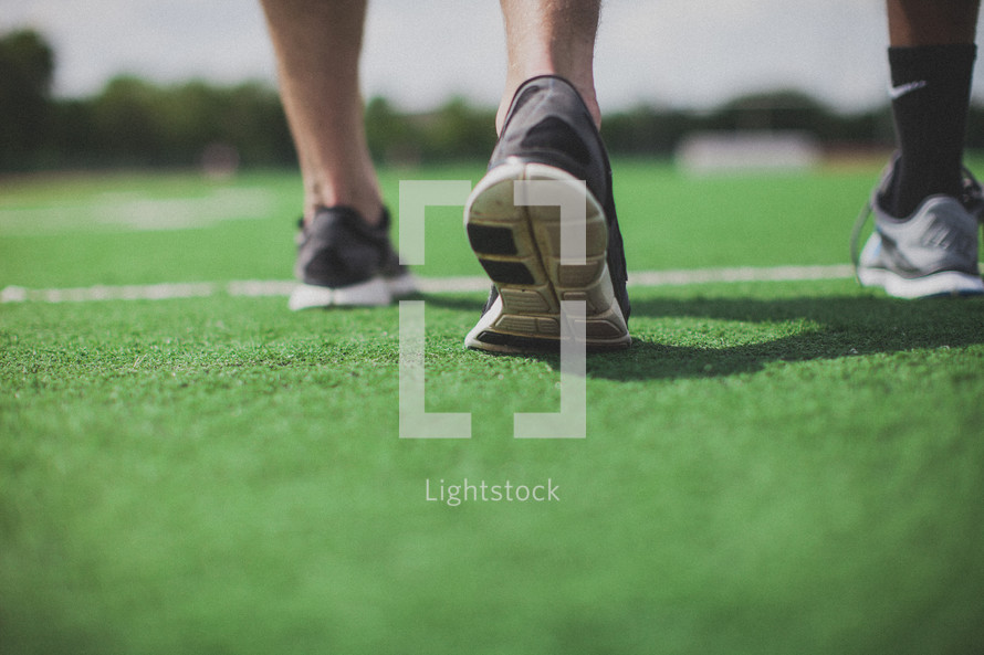 shoes on a football field