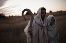 Joseph and Mary walking towards Bethlehem