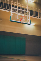 basketball hoop in a gym