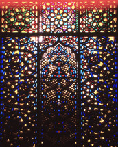 stained glass window  in a muslim mosque