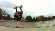 skateboarder doing tricks at the skate park