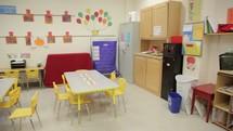 A church nursery and preschool classroom