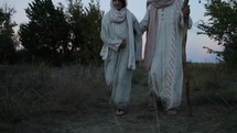 Mary and Joseph walking towards bethlehem