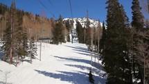 riding on a ski lift