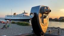 cruise ship and binoculars
