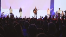 cheering fans at a Christian music concert