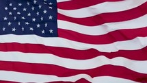 The American Flag waving in slow motion