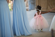 flower girl and bridesmaids