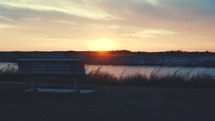 bench by a river at sunset (Slow motion, 24fps)