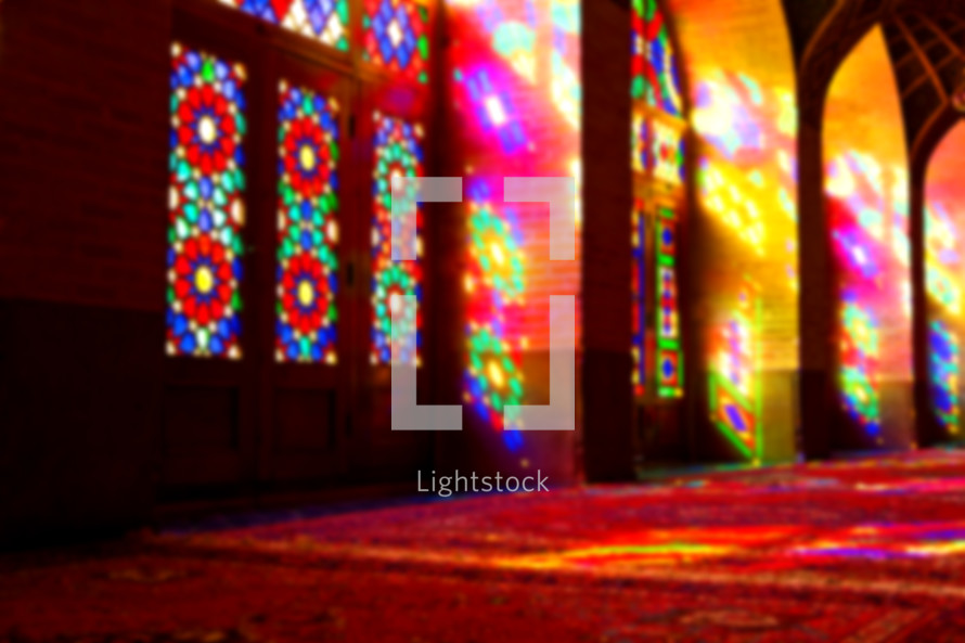 colors from stain glass windows from a mosque in Iran