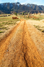 Lesotho street, dirt road to a village