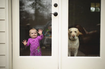 a dog and toddler standing at a back door window