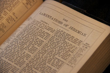 Open Bible in the book of Jeremiah
