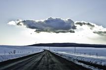 snow lined street