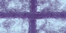 purple cross plus light blue behind glass