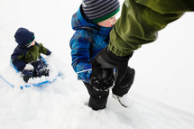 children playing in snow