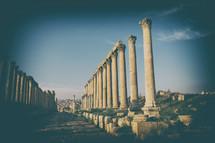 columns at the site of ruins in Jordan