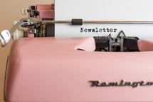 Newsletter, pink, typewriter, typography, word, print