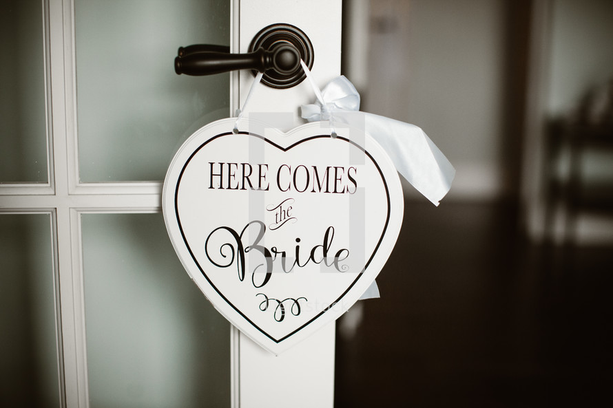 Here comes the bride door hanger sign