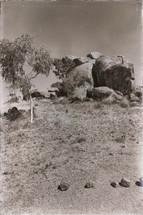 desert and devils marble in Australia