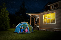 kids camping in the backyard
