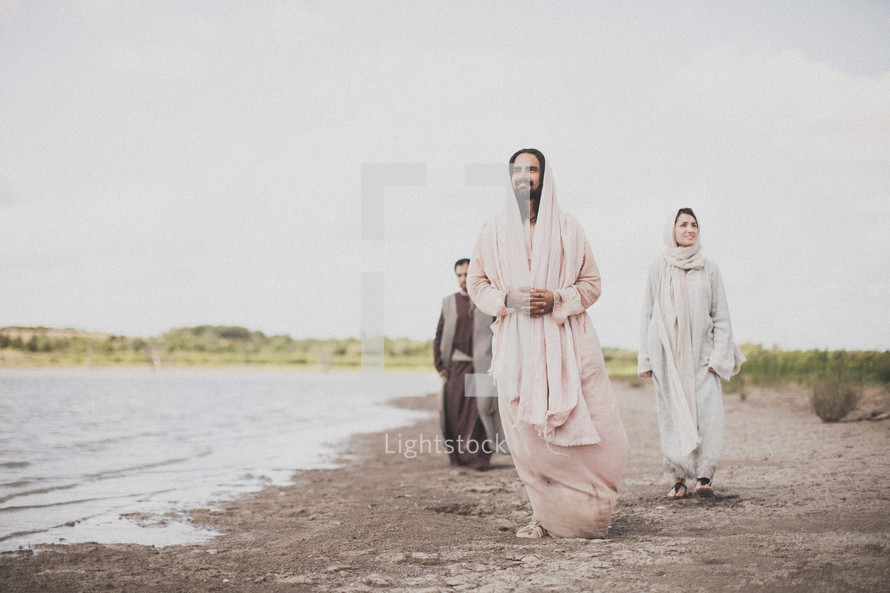 Jesus walking with his disciples