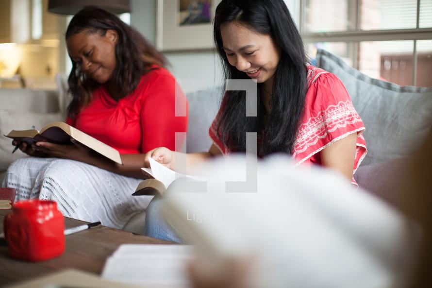 women reading Bibles at a women's group Bible study