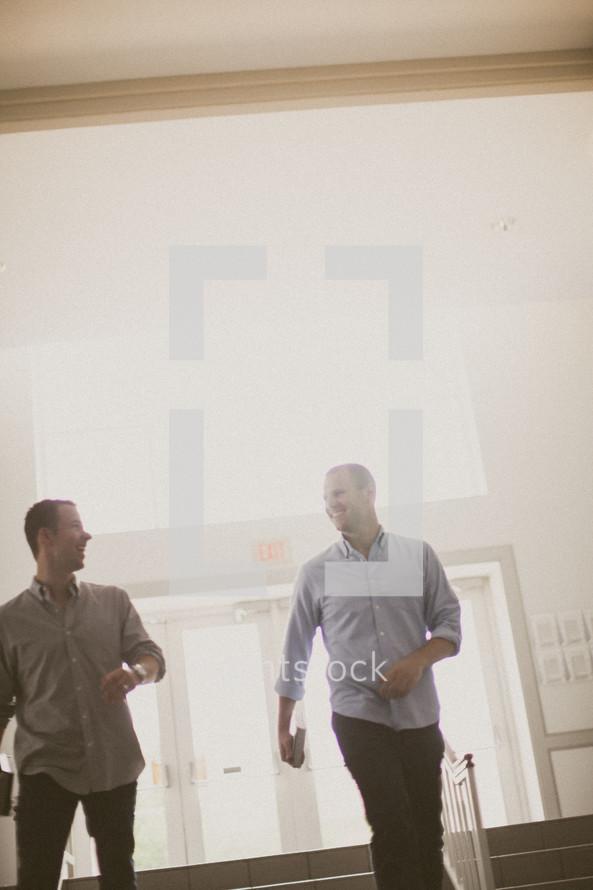 men entering a church