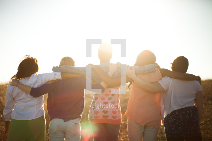 friendship, women, support, woman, African American, outdoors, hugging, arms around each other, backs to the camera