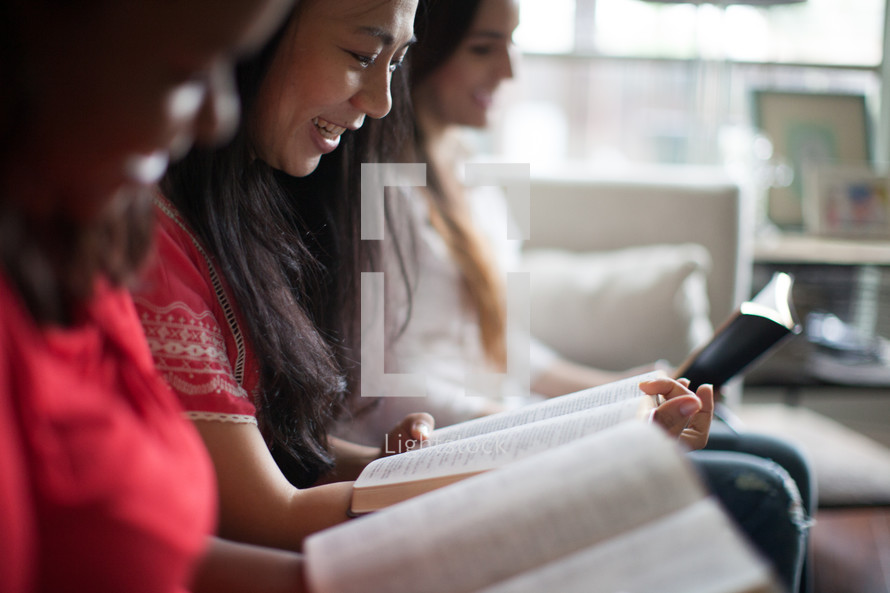 women reading Bibles at a women's group Bible study