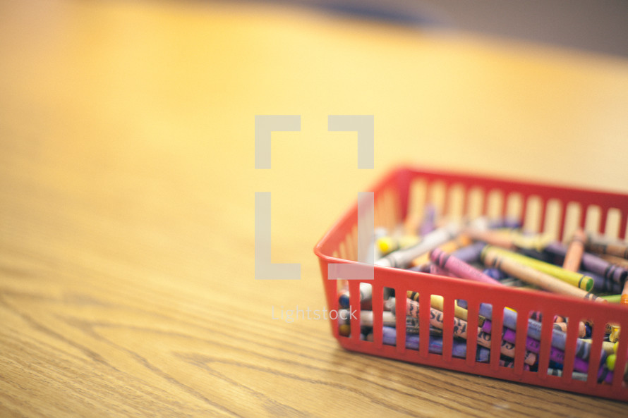 bin of crayons